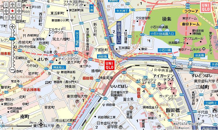 ユニクロ飯田橋メトロピア店:地図