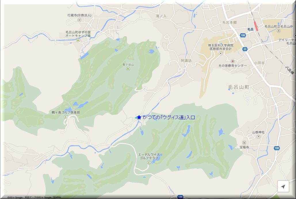 かつての「うぐいす道」入口(地図)