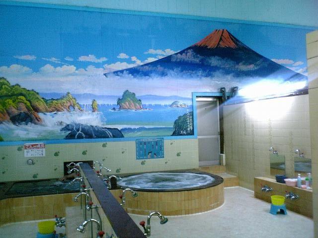 早川さん描くペンキ絵(埼玉・富士見市・つるせ浴場)