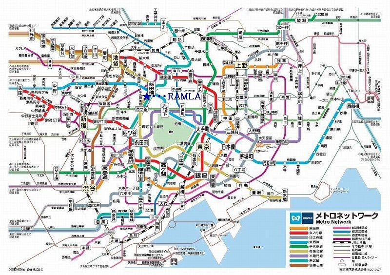 飯田橋・RAMLAの位置(メトロネットワーク)