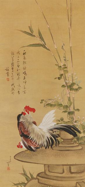 北斎「鶏竹図」2