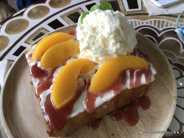The 66 Cottage cafe バンコク 隠れ家 カフェ peach toast