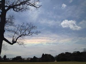 水平の虹 飛火野にて