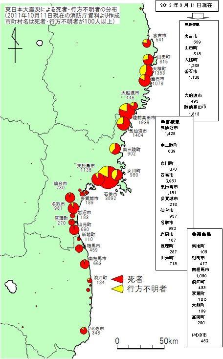 東日本大震災市町村別死者・行方不明者2011−2013