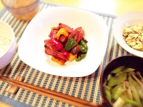 【簡単レシピ】ピーマンと茄子のケチャソース炒め