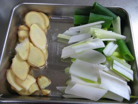 ねぎと生姜の切り方
