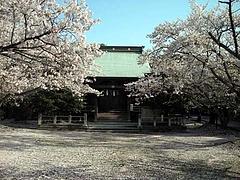 久賀護国神社の桜吹雪