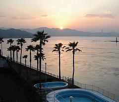 周防大島温泉大観荘からの夕陽