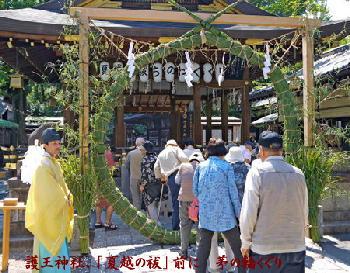 護王神社、「夏越の祓」前に 茅の輪くぐり 2017年