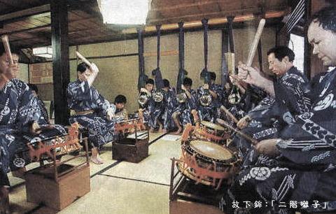 放下鉾:「二階囃子」練習風景