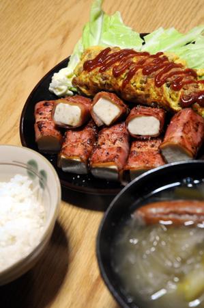 ベーコンまきまき豆腐と納豆オムレツ