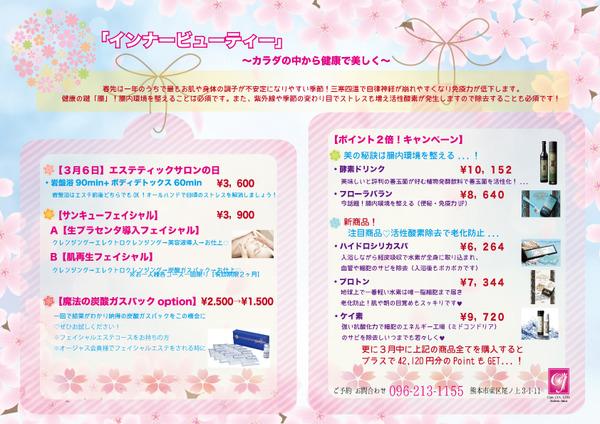 エステサロンオージャス熊本3月キャンペーン ダイエット 美肌 Ojas