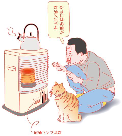 ネコと石油ストーブ