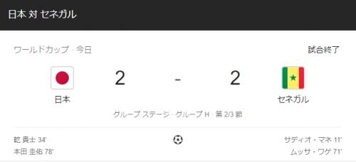 【速報】日本 VS セネガル 2-2の引き分け!!ケイスケホンダ最高!!!!!