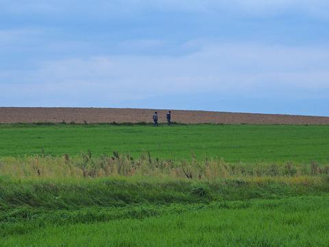 畑のど真ん中を歩く2人のアフガニスタン人
