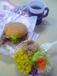 20100121ランチ照り焼きバーガーとサラダ