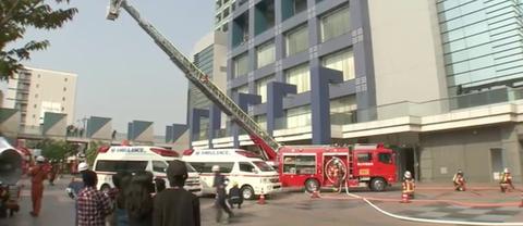 岡山コンベンションセンターで消防訓練