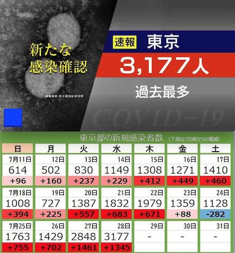 東京感染 3177人