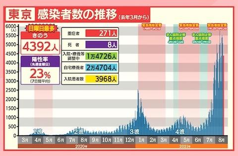 東京感染者推移0822