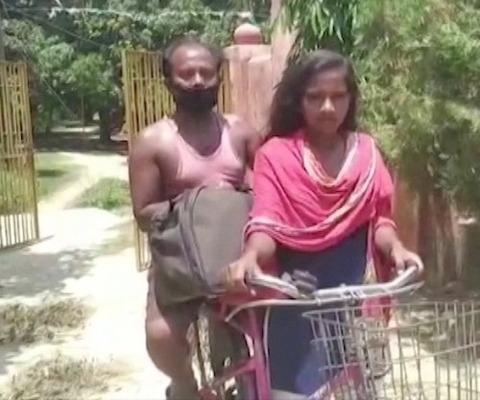 インド 15歳少女が父を乗せ自転車で1200キロ