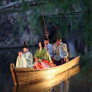 夜の川舟流し  倉敷