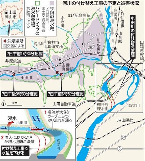 岡山 倉敷 真備 ハザードマップとほぼ一致
