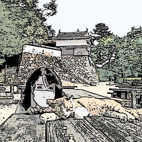備中松山城 猫とマスク スケッチ