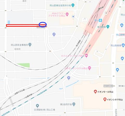 岡山駅西口近郊(石井小学校)の近郊の「電柱」倒柱の恐れ