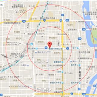 地図 西川緑道公園 2円 500㎡ 1km