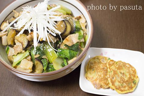 かき醤油丼と納豆おやき