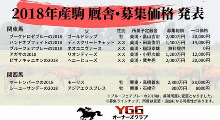 YGG 新規募集馬1次価格厩舎