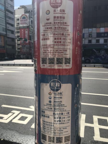 台北オープントップバス 台北駅乗り場路線図