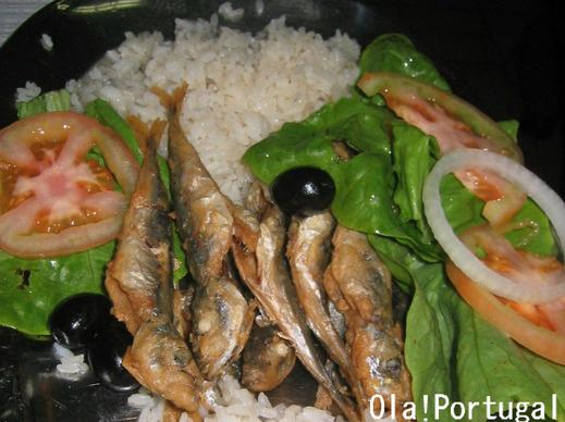 ポルトガル料理:Carapau frito com Arroz カラパウ・フリット