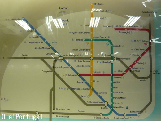 リスボ地下鉄メトロ路線図