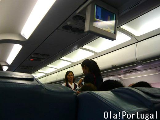 TAP ポルトガル航空の機内