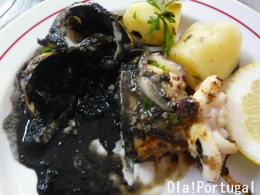 ポルトガル料理:モンゴウイカのグリル(墨入り)