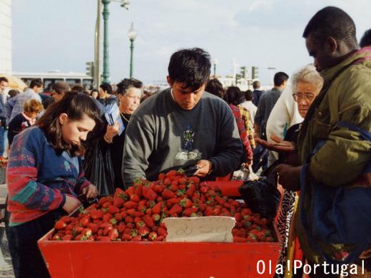 ポルトガルの屋台:イチゴの屋台