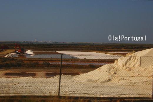 重機を使って塩を集めるポルトガルの塩田