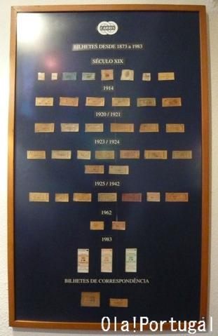 リスボン市電博物館の展示物:古い切符