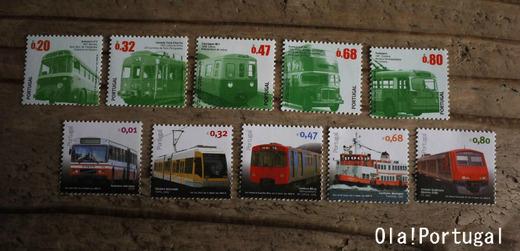 ポルトガルの切手:電車、バス、フェリー、路面電車