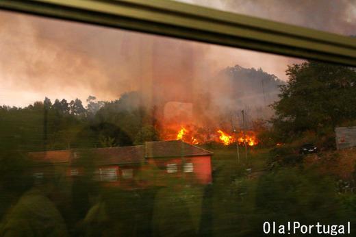 ポルトガルの山火事:線路に火の手が近付く