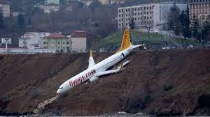 滑走路を外れて海に落ちかけた旅客機
