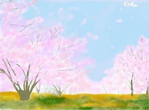 【 母と妹と桜 】
