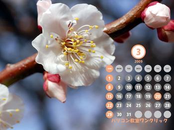2009年3月カレンダー