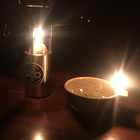 オイルランタン、ろうそくの灯