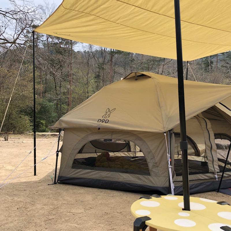 【キャンプ道具自作】DODキノコテントにぴったり?チーズまたはキノコテーブル。自然の森ファミリーオートキャンプ場