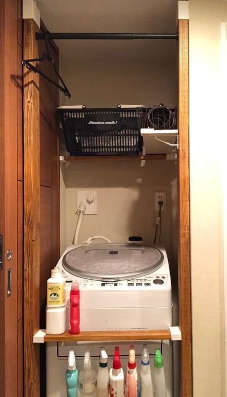 【DIY】洗濯機上のスペースに収納棚をつけてみた