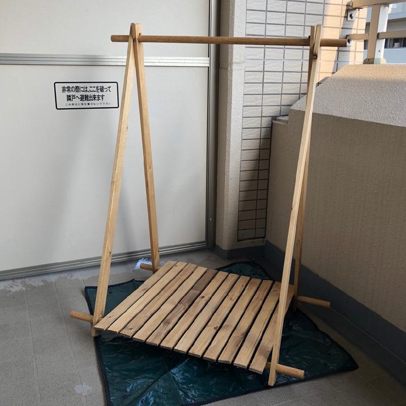 【キャンプ道具自作】HONDAキャンプ こだわりギア工房をそのままにハンガーラックをつくってみた。