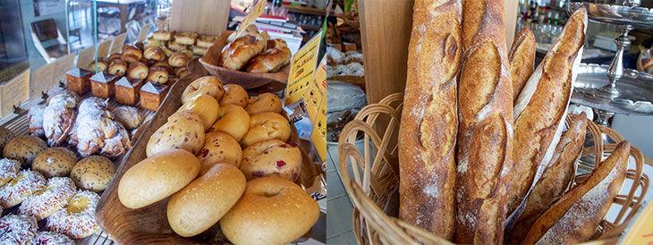 北海道産、九州産など、国産小麦にこだわったパンが並びます。ベーグル、メロンパンなども小ぶりな食べきりサイズが主流で、あれこれ試してみたくなります