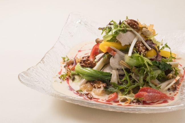 蒸し鶏と夏野菜のサラダ載せ冷やし麺